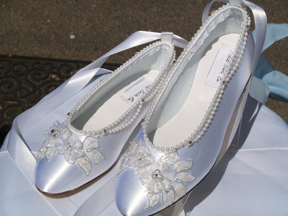Wedding Ballerina Slippers White Satin with silver appliqué