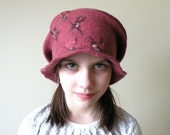 Cranberry wet felted wool girl or women hat - autumn fall fashion - ready to ship - school girl - AgnesFelt