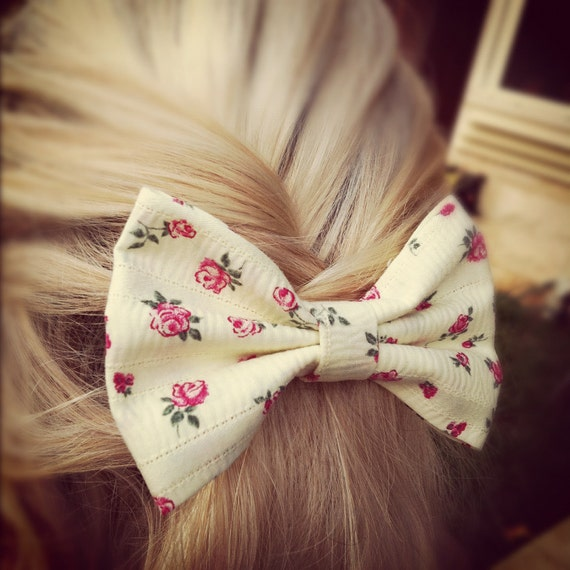 THE LAST ONE  floral hair bow - Banana yellow