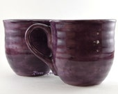 Large Purple Ceramic Mugs - Set of 2 - RiverRockArtsMD