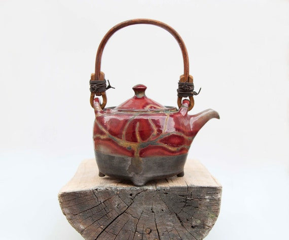 ceramic tea pot red glazed - christmas gift ideas