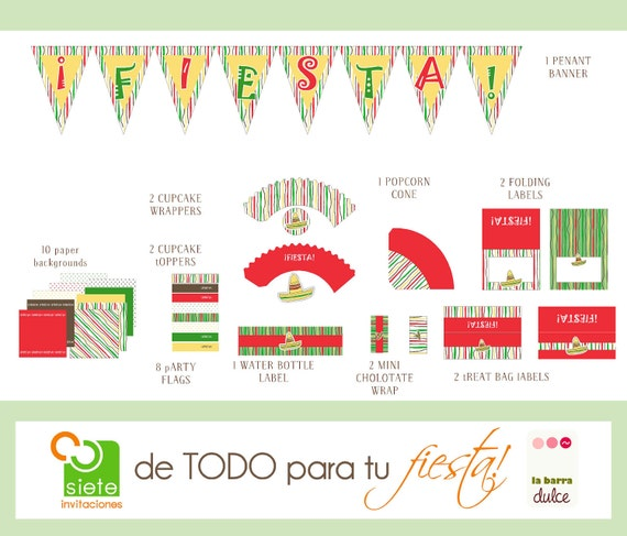 Mexican Fiesta PRINTABLE Party kit package sombrero fiesta margarita tequila 5 de mayo