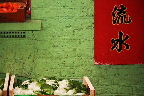 Chinatown Vegetables - Green Wall - London England - 8x10 Print