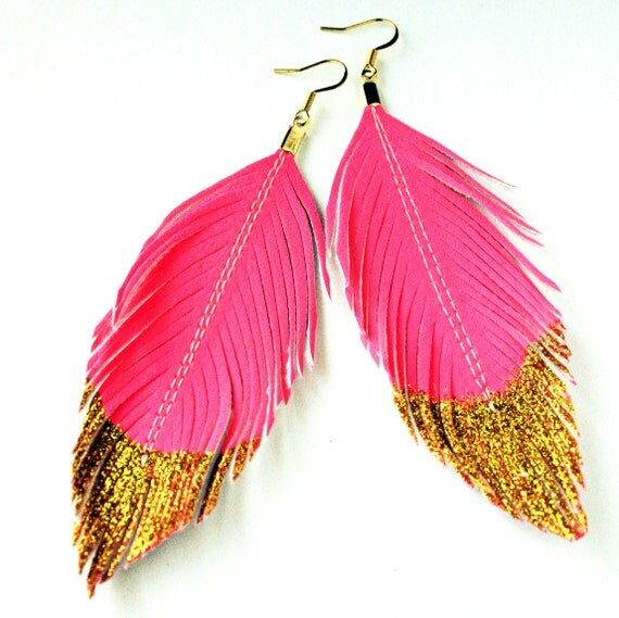 Neon Pink Gold Glitter Dipped - Faux Leather Feather Earrings - Surgical Steel Available - FREE SHIP