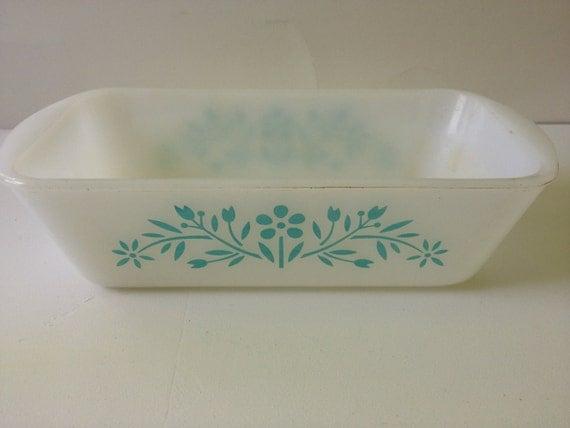 Vintage GlassBake Loaf Pan - Aqua Floral Pattern