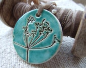 Cow parsley pendant turquoise vintage velvet ribbon Queen Anne's Lace Emerald green teal Mother's Day Spring time