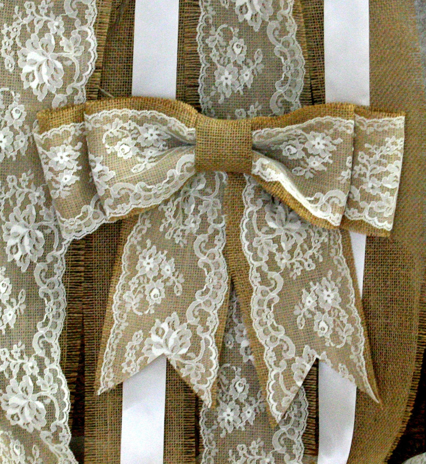 Pew ends on pinterest white hydrangeas pew bows and burlap pew bows - Bow decorations for weddings ...