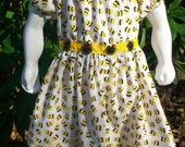 Girl's Peasant Dress- Size 4 Bumblebee Peasant Dress - SewGammySew