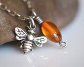 Bee Necklace, amber necklace, bee jewelry, amber jewelry, autumn jewelry, charm necklace, sterling silver handmade necklace, bug jewelry - Illuminista