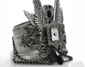 Gothic Steampunk Cuff Watch - Men Women Silver Wrist Watch - Gothic Jewelry - LeBoudoirNoir