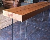 reclaimed recycled salvaged barn wood joist bench- Hickory wood on steel hairpin legs - triple7recycled