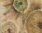 Dandelion painting - small original watercolour - rachelstockham