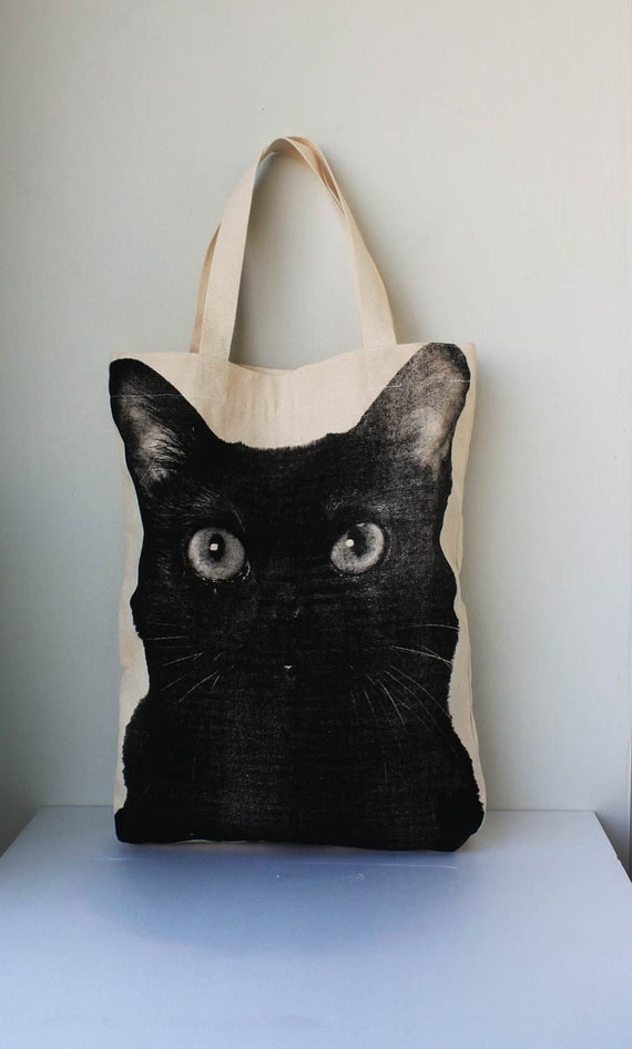 Black cat Canvas tote bag - cat tote bag Diaper bag Shopping bag Document bag Market Bag.