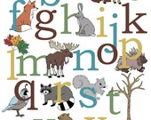 Woodland Alphabet Poster Nursery Art Print  - Nature and Animals - AlleyKids