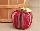 "Teacher's Gift, Upcycled Book Apple 7"", MADE TO ORDER, great for Back to School - whimsysworkshop"