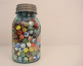 Vintage Quart Ball Jar with Marbles / Blue Mason Jar with Zinc Lid - zestvintage
