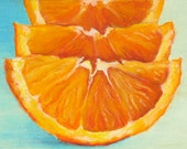 Giclee, Archival, Matted Print of an Original Oil Pastel Painting of Orange Slices - brookefiger