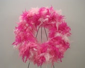 Hot Pink Feather Wreath - ellieboodesigns
