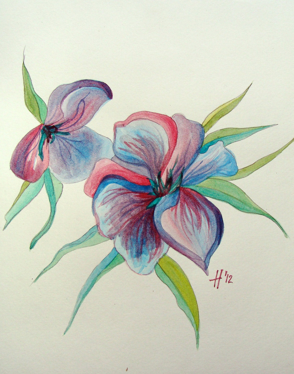 flower cool watercolor paintings