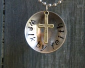 "Handstamped ""Walk By Faith"" Necklace - 621Treasures"