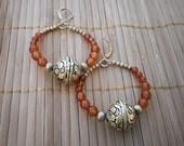 Carnelian & Antique Brass Hoop Earrings