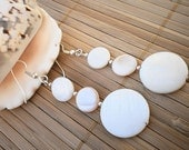 Mother of Pearl Shell Earrings with Sterling Silver Beads