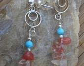 Quartz, Crystal & Turquoise Earrings with Sterling Silver