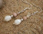 Freshwater Pearl, Moonstone & Amazonite Drop Earrings