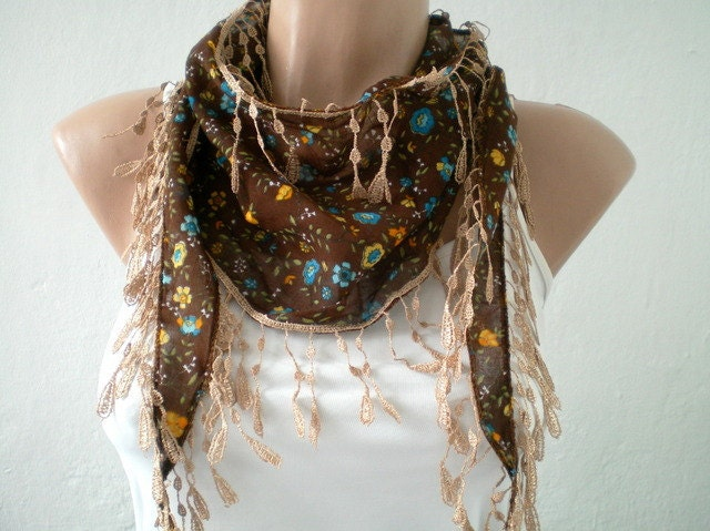 Floral Brown Scarf Cotton Women Scarves Spring by fizzaccessory Brown Scarves For Women