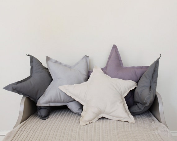 Star shaped Pillow or cushion - french grey, soft cotton