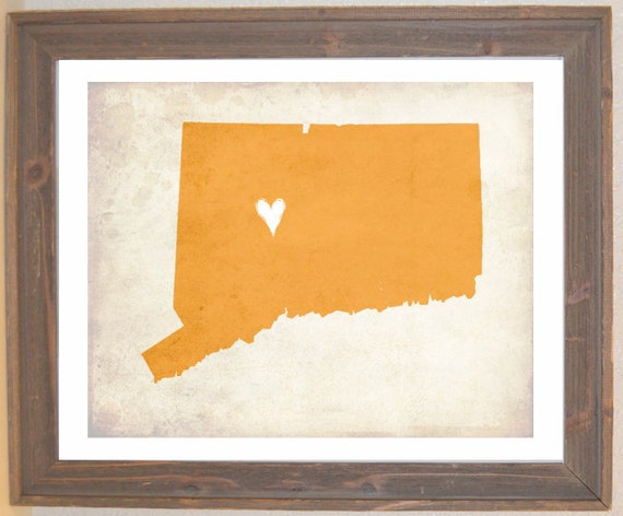 Connecticut Love State Customizable Art Print