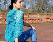 Crochet Summer Sweater in Blue Turquoise - Caheez