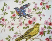 Set of Four Linen Kitchen Towels with Bird Prints- Colorful - BellaVitaVintage