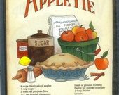 Apple Pie Recipe Plaque  Retro Primitive Country  KITCHEN Decor Sign Free Shipping - carolalden