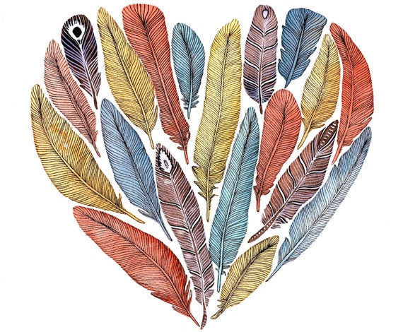 Feather Heart Painting - Watercolor Art - Large Archival Print - 11x14 Fiona's Heart