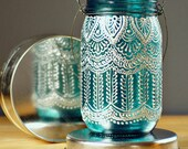 Hand Painted Mason Jar Lantern, with Peacock Blue Glass and Pearl White Eccents - LITdecor