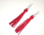 Long Red Deer Skin Suede Leather Tassel  Earrings