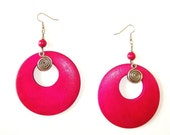 Electric Hot Magenta Wooden Dangles