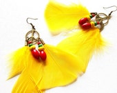 Peace Sign Jamaican Flair Feather Dangles