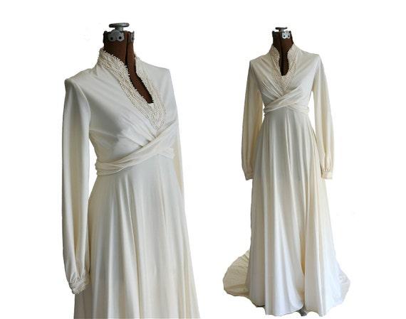 Vintage 1970s High Neck Wedding Dress, Cream Jersey w Long Sleeves, M - L