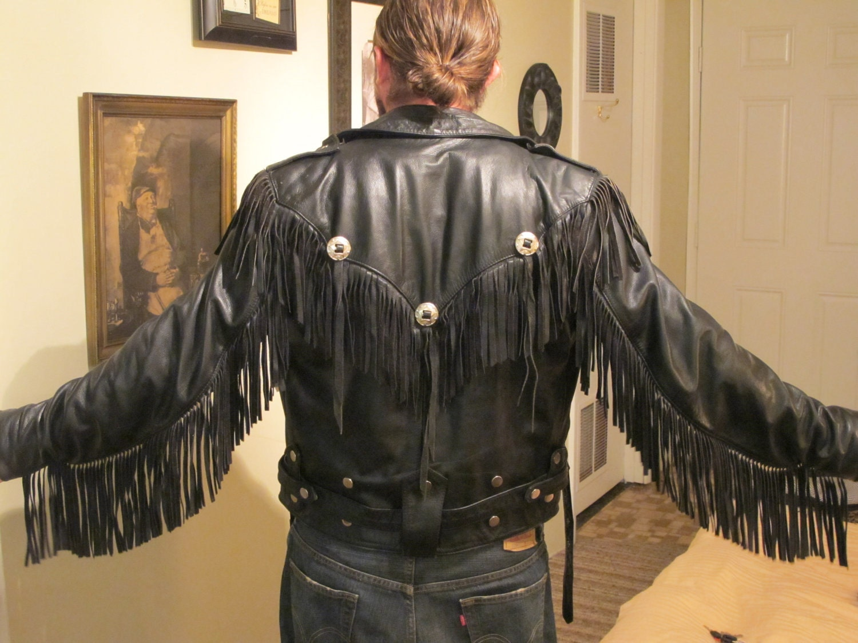 Classic style leather motorbike jacket (tassels) - G&C Motorcycles