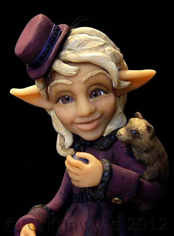 Art Doll, Elf with Pet Ferret - Violet