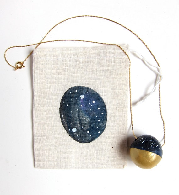Constellation necklace - night sky - stars - gold dipped - astrology print - gift set - zodiac - navy black gold white - charity