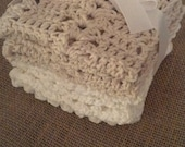 Ivory and White Cotton Washcloths