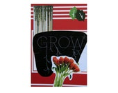 "Journal entitled ""Grow.""  Anthropologie Style with red, black, & green.5 in by 7 in with 80 lined sheets."