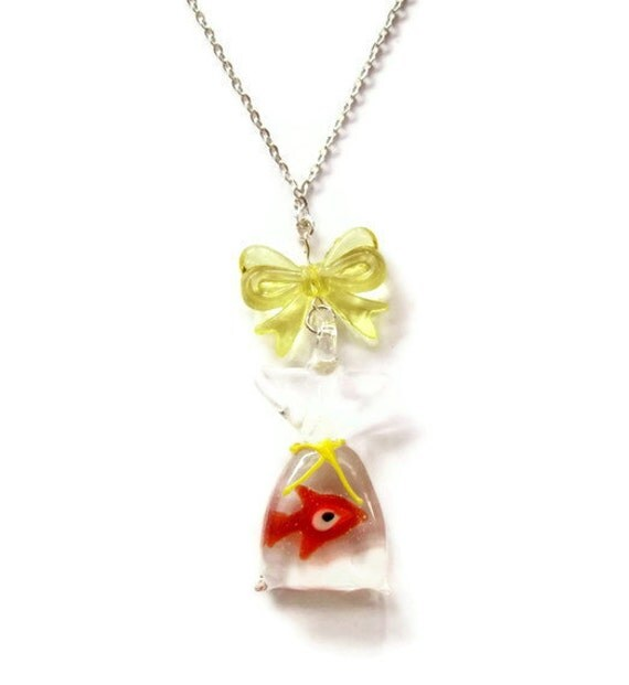 Goldfish Necklace, Fish in a Bag, Fairground Lamp Work Pendant