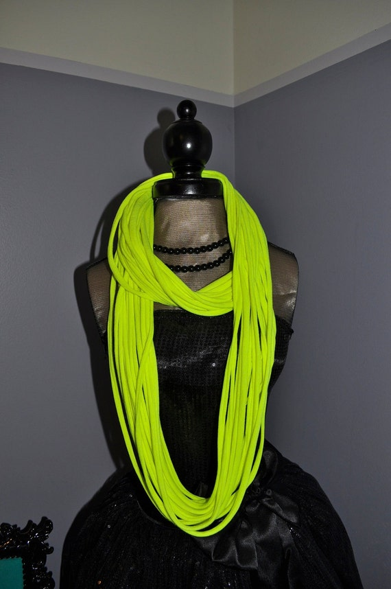 Skinny Summer Scarf Necklace - Eco Friendly Cotton Jersey Infinity T shirt Scarf - Neon Yellow