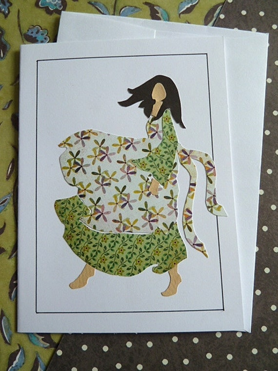 Windy Girl - Blank Greeting Card - VX
