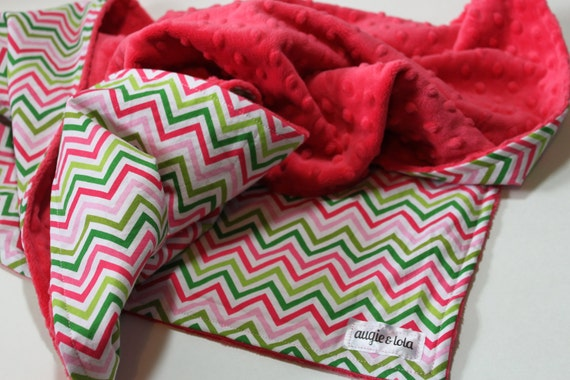 Baby Blanket, Chevron Baby Blanket with Watermelon Minky