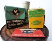 Old Boxes in Cool Colors with Vintage Typography - Set of 4 Photo Props - somersaultvintage